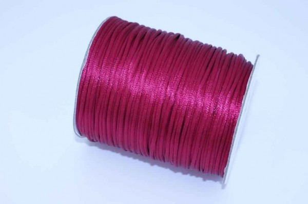 100m Rolle Satinkordel - 2mm stark - Farbe: bordeaux hell