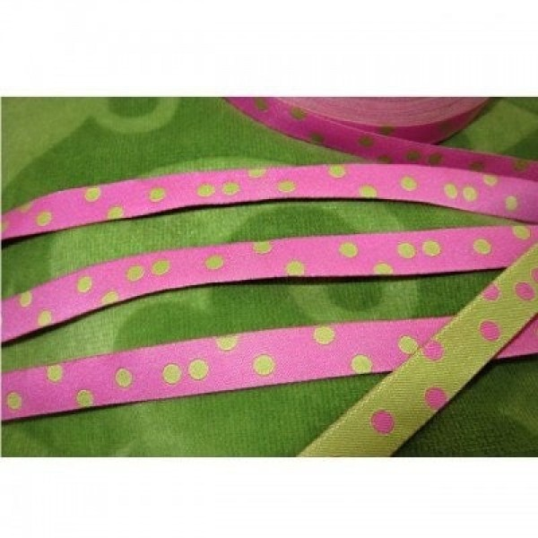 5m Rolle Webband Design by farbenmix - 10mm breit - Punkteband rosa/lime