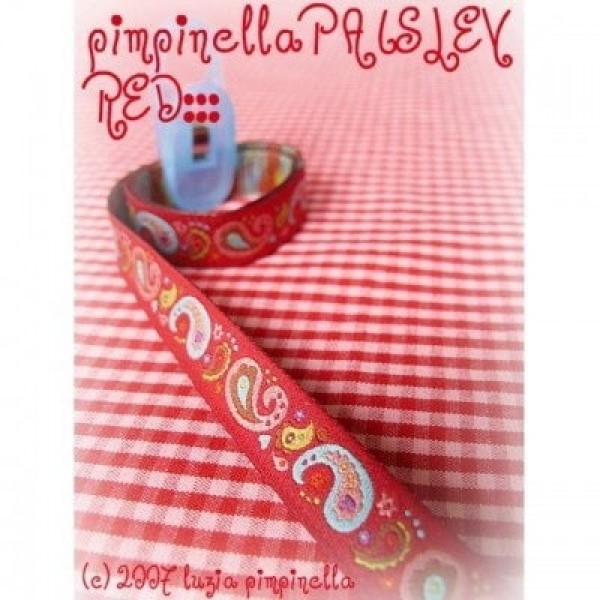 3m Rolle Webband Design by pimpinella, 12mm breit, Paisley rot