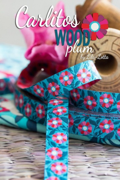 5m Rolle Webband Design by Lila-Lotta Design, 15mm breit, Carlitos WOOD plum