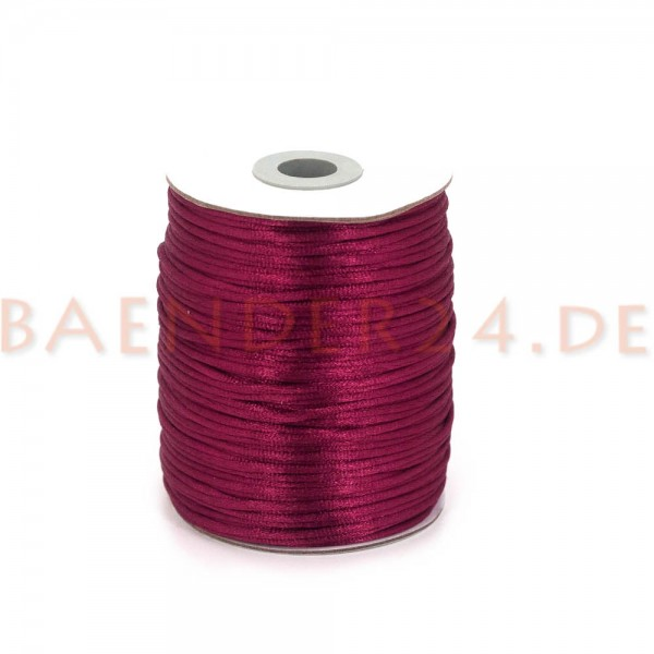 100m Rolle Satinkordel - 2mm stark - Farbe: weinrot