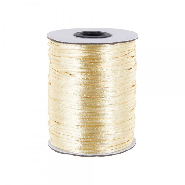 100m Rolle Satinkordel - 2mm stark - Farbe: creme
