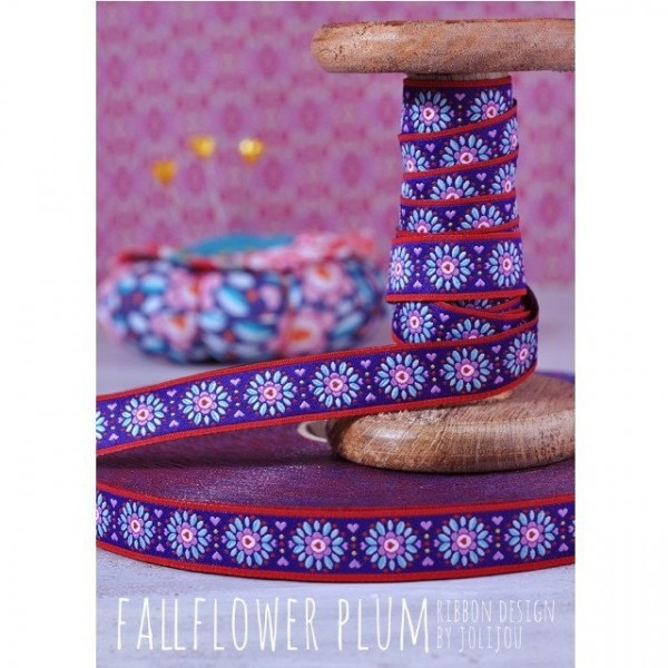 3m Rolle Webband Design by Jolijou, 15mm breit, FallFlower Plum