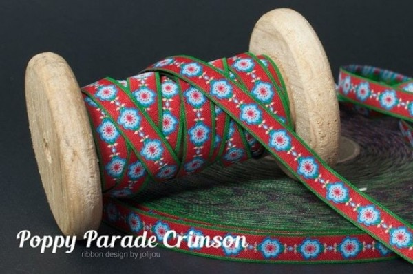 3m Rolle Webband Design by Jolijou.de, 12mm breit, Poppy Parade Crimson