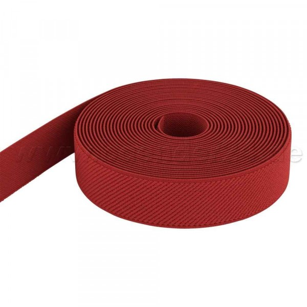 50m Rolle Gummiband - Farbe: rot - 25mm breit