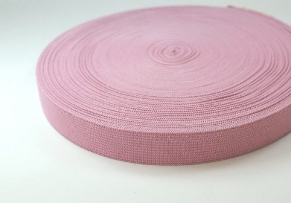 25mm breites Gummiband aus Polyester - 25m Rolle - rosa